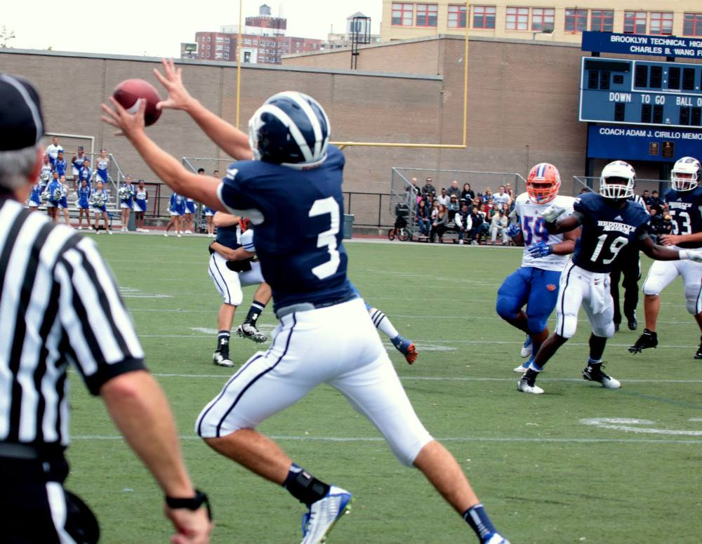 Charlie Colt (#3) makes sideline catch vs Lehman in week 2.